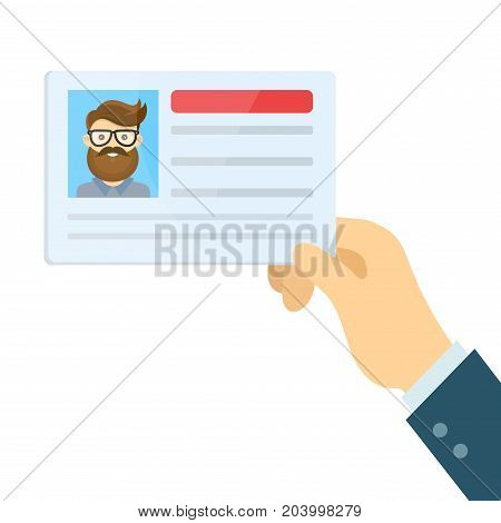Vector modern flat style cartoon character illustration. Car driver license in hand.Holding the id card two. Isolated on white background