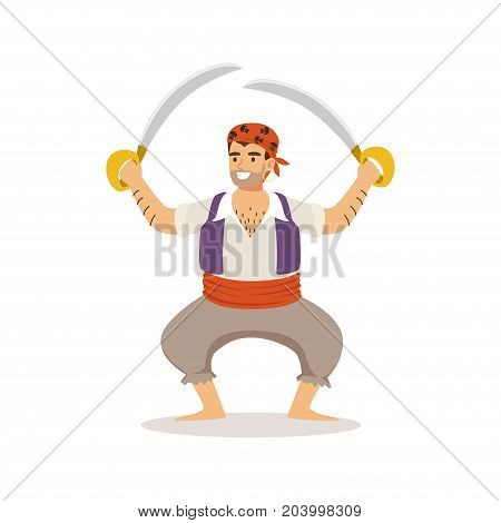 Brave pirate character with sabres vector Illustration on a white background