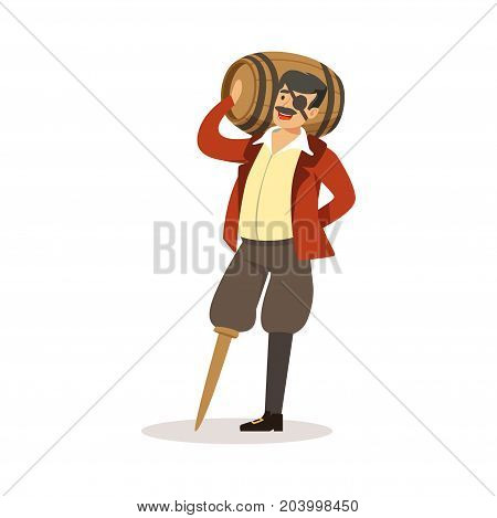 Pirate sailor character with wooden leg holding wooden barrel of rum vector Illustration on a white background