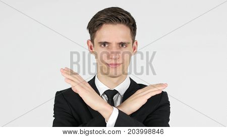 Rejecting Offer, Businessman On White Background