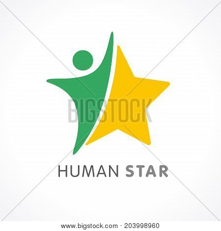 Human star creative logo design. Star people abstract vector emblem for education, social community, fitness and awards