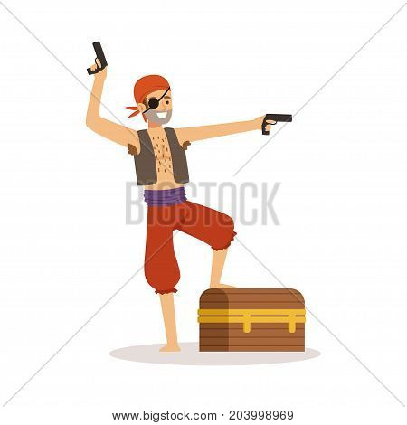 Brave pirate character with pistols and chest vector Illustration on a white background