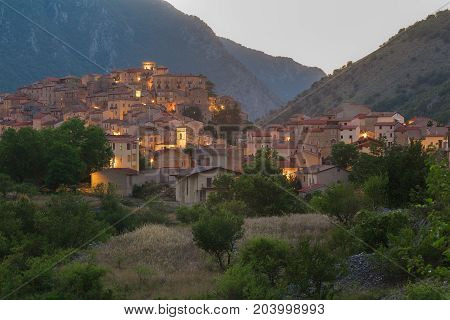 View of Italian Villalago old city in province of L'Aquila the Abruzzo region