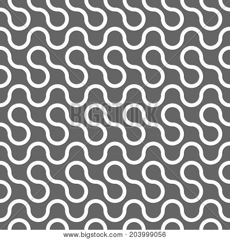 Abstract seamless pattern. White curvy lines on grey background. Vector swatch.