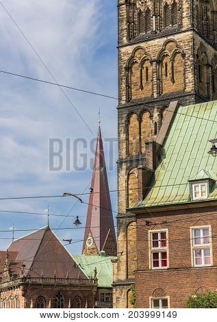 Church Towers In The Histroic Center Of Bremen