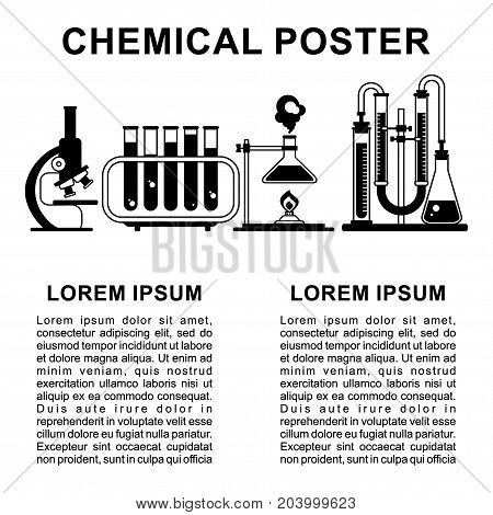 Laboratory poster flat vector design. Icon and text isolated on white background. Template for writing scientific article or advertising in book magazine or website.