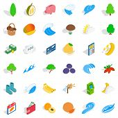 Vital icons set. Isometric style of 36 vital vector icons for web isolated on white background poster