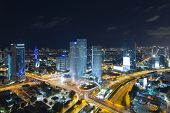 Tel Aviv Skyline At Night, Skyscraper and Ayalon Freeway poster