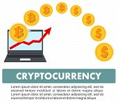 Bitcoin sign digital currency cryptocurrency electronic money. Cryptocurrency concept. Bitcoin mining exchange mobile banking. Laptop with relocating bitcoins into dollars. Up graph with bitcoin sign cryptocurrency in flat icon design in laptop. poster