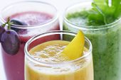 selection of fresh  fruit and vegetables smoothies poster