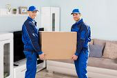 Two Young Smiling Movers In Uniform Delivering Cardboard Boxes In Living Room poster