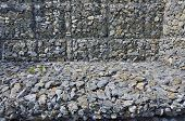 Gabion - stones in wire mesh. Popular element of design for garden landscaping and erosion control. poster