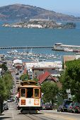 Cable Car with Alcatraz in the background, San Francisco poster