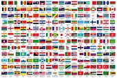 216 Official flags of the world in alphabetical order, with official Country and Capital name, verified by teachers for accuracy. poster