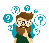 Young hipster business man thinking standing under question marks.Young hipster business man thinking.Thinking business man surrounded by question marks.Vector flat cartoon iluustration character icon poster