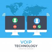 VoIP technology, voice over IP, IP telephony concept. Two PC. Computer with outgoing call and computer with incoming call on screen. Internet calling web banner. Modern flat design vector illustration poster