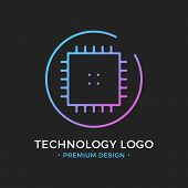 Microchip line icon. CPU, Central processing unit, computer processor, chip symbol in circle. Abstract technology logo. Simple round icon isolated on black background. Creative modern vector logo poster