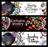 Jewelry and luxury jewel sketch banners. Diamond ring, necklace, earring with precious stone, gold chain, brilliant pendant and bracelet with gemstone. Jewelry shop and fashion themes design poster