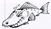 Notebook Doodle Sketch Tough Mean fish Vector Illustration poster