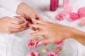 manicure treatment at the spa salon poster