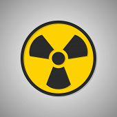 Toxic icon. Radioactive sign. Radiation. Vector illustration isolated on background. Black and yellow symbol. poster