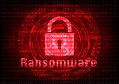 Abstract Malware Ransomware virus encrypted files with key on binary bit background. Vector illustration cybercrime and cyber security concept. poster