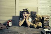 Little baby secretary with bear and book. Kid choose career and typing. Small girl with curler in hair. Child with briefcase and alarm clock. Education and childhood. poster