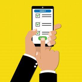 Businessman hand holding tablet with checklist online survey form. Vector illustration business online technology concept.
