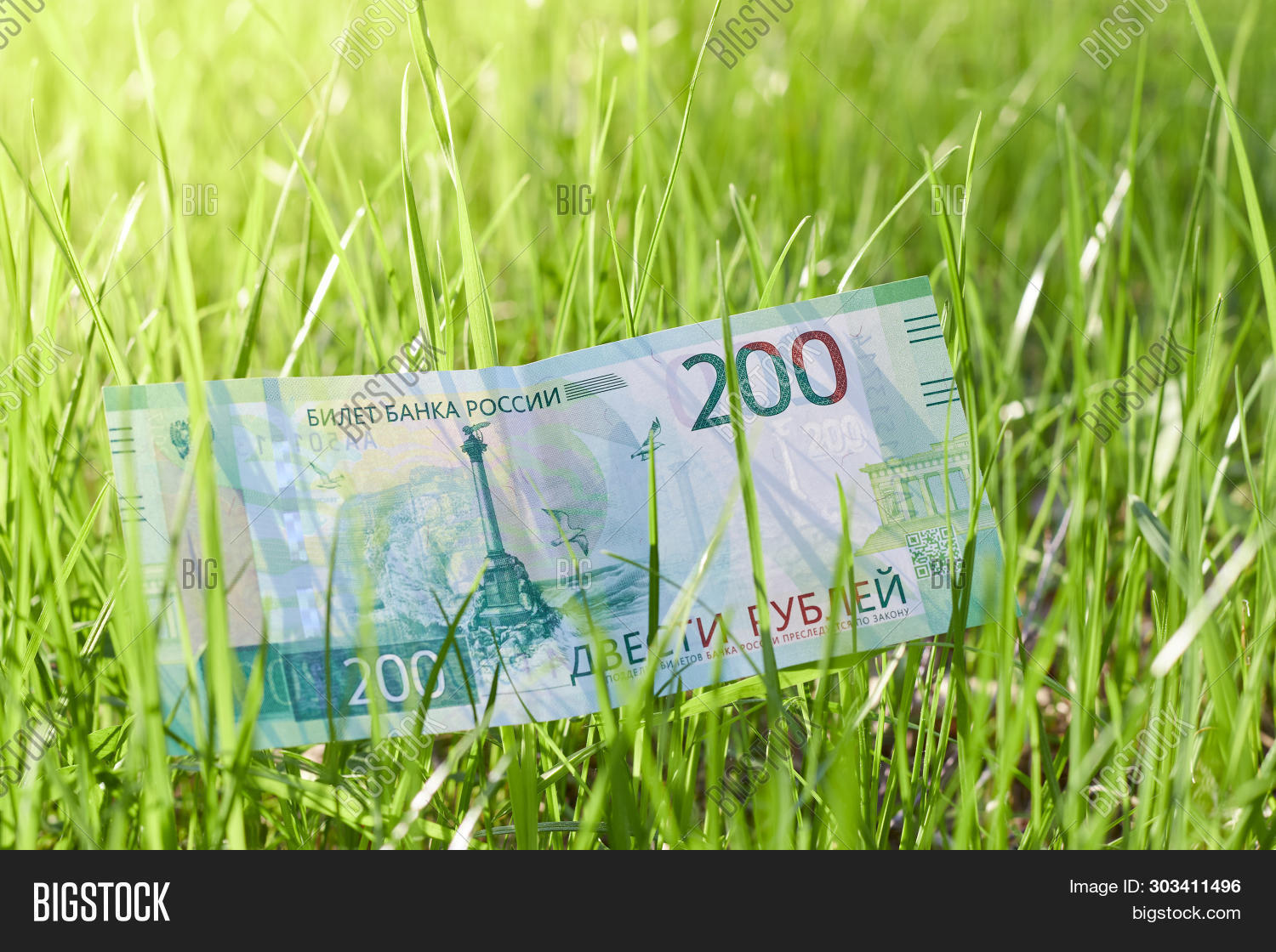 Banknote Two Hundred Russian Rubles. Paper Russian Money On The Background Of Green Grass On A Sunny