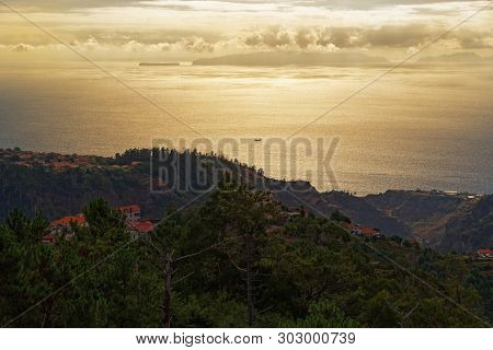 Aerial View From Madeira Toward Deserta Grande Island, The Main Island Of The Portuguese Desertas Is