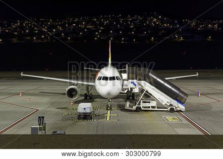 Funchal, Portugal - September 21, 2018: Empty Airplane In The Night At Funchal Airport On Madeira Is