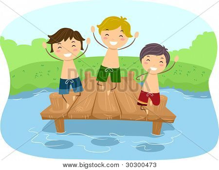 Illustration of Kids Playing in a Dock