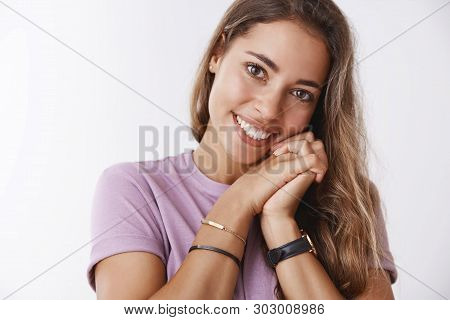 Girl Touched Kitten Cuteness Smiling Moved Looking Heartwarming Scene Leaning Head Palms So Sweet, G