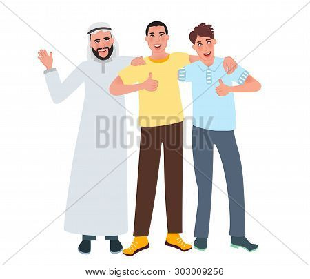 Men of European, Asian and Arab appearance smile and lift a finger up. Friendship of nationalities. Vector illustration of human race poster