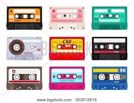 Retro Cassettes. Vintage 1980s Music Tape, Dj Rave Party Mix, Realistic Stereo Record Set. Vector Ol