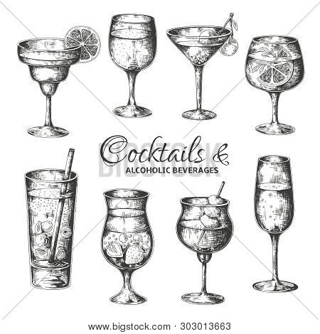 Hand Drawn Cocktails. Vintage Glasses With Liquors And Alcoholic Drinks, Summer Drinks Sketch Menu.