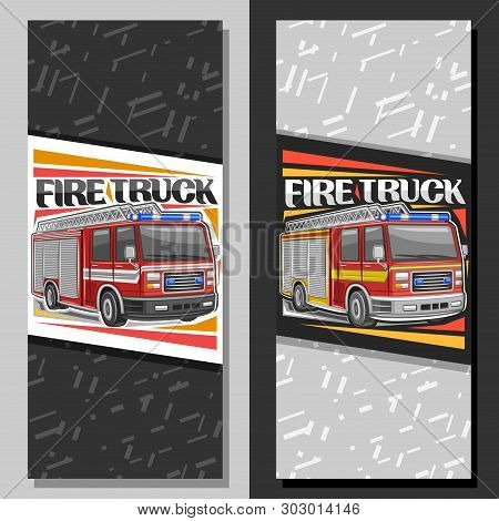 Vector Layouts For Fire Truck, Brochure With Illustration Of Red Modern Firetrucks With White And Ye