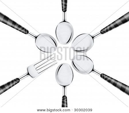 Fork And Set Of Spoons