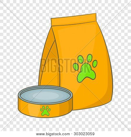 Bag Of Food For Pets And Food Bowl And Icon. Cartoon Illustration Of Bag Of Food For Pets And Food B