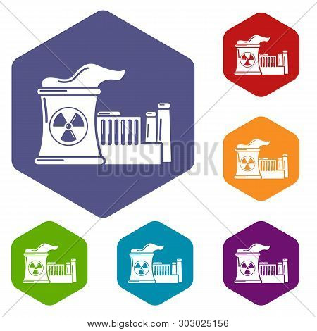 Atomic Reactor Icons Vector Colorful Hexahedron Set Collection Isolated On White