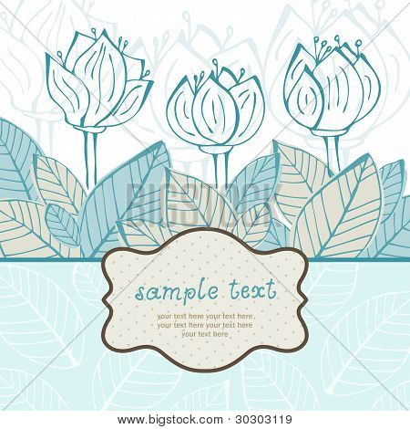 Greeting card with flowers and leafs