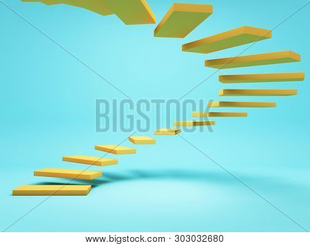 Abstract stairs, conceptual art, 3D illustration, rendering.