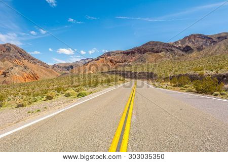 Road Crossing The Panamint Range In Death Valley National Park In California. Usa