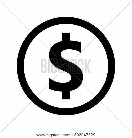 Money Vector Icon, Money Symbol, Money Dollar Symbol, Money Icon. Black Dollar Cash Isolated On Back