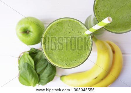 Banana Mix Spinach Apple Smoothie Juice And Green Juice Beverage Healthy The Taste Yummy In Glass Fo