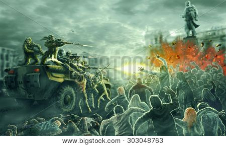 Zombie Horde Attack On An Armored Troop Carrier With Shooting Soldiers. Gloomy City Of The Dead. Ill