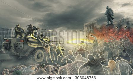 Horde Zombies Attack Shooting Soldiers On Street Of Dead City. Illustration In Horror Genre.