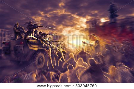 Scary Monsters Horde Attack On Military Equipment With Shooting Soldiers. Zombie Apocalypse Illustra