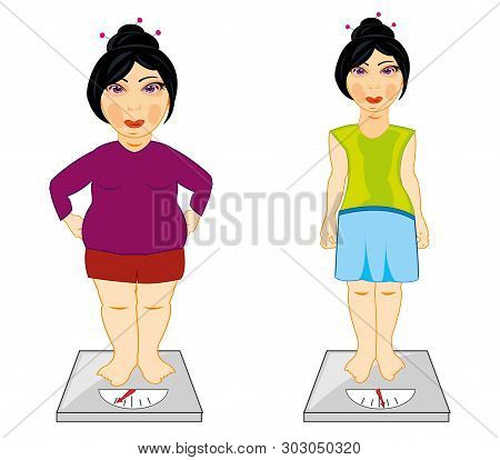 Skinny And Full Girl Measure Its Weight