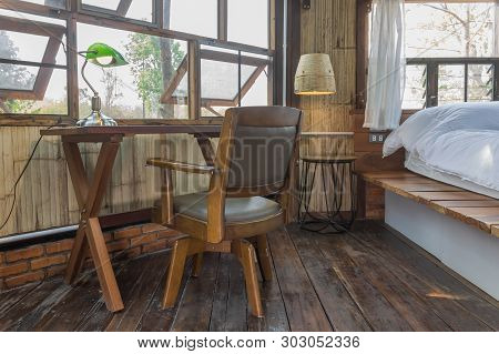 Arm Chair And Table In Bedroom Of Interior Design Room. Interior Design Room Include Lamp And Window